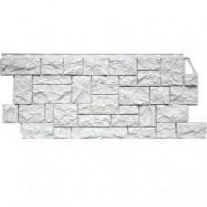 Панель фасадная FineBer Камень дикий 1117х46 мелованный белый